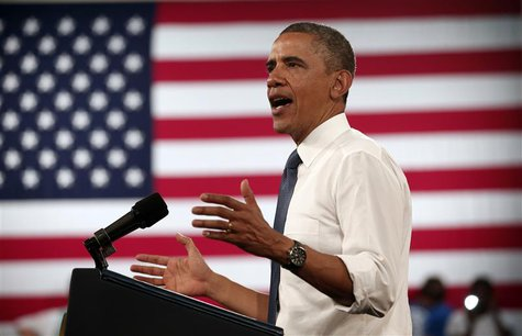 U.S. President Barack Obama speaks during a visit to Mooresville Middle School in Mooresville, North Carolina June 6, 2013. REUTERS/Kevin La