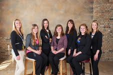 Left to right, Shella Paukner, Jessica Levsen, Kaitlyn Gulig, Tiffany Born, Jennifer Kuffel, Shannon McCabe, Natalie Rortvedt.