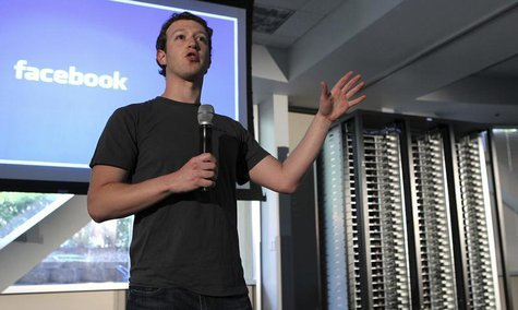 "Facebook Founder & Chief Executive Officer Mark Zuckerberg, launches the ""open compute program"" at Facebook's headquarters in Palo Alto, Cal"