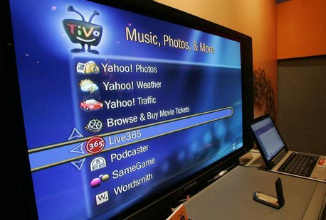 A screen shows Internet services available through an broadband-connected TiVo digital video recorder at the Consumer Electronics Show in La
