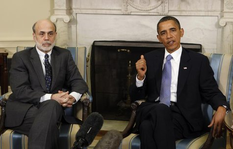 U.S. President Barack Obama meets Chairman of the Federal Reserve Ben Bernanke in the Oval Office of the White House in Washington, June 29,