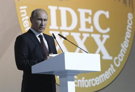 Russian President Vladimir Putin speaks during International Drug Enforcement Conference in Moscow June 5, 2013. REUTERS/Sergei Karpukhin