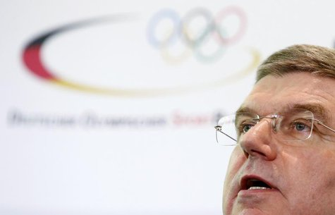 German Olympic Sports Confederation (Deutscher Olympischer Sportbund, DOSB) President Thomas Bach addresses a news conference in Frankfurt M