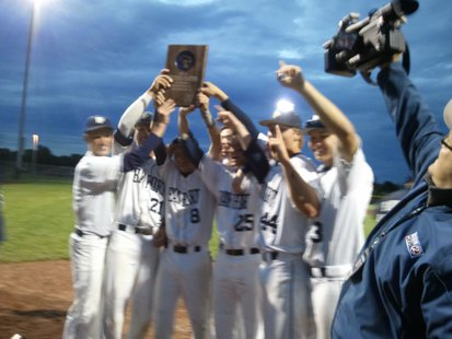 Bay Port Pirates celebrate return to the WIAA State Baseball Tournament on June 6, 2013. (photo by Mark Daniels).