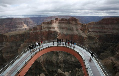 A skywalk extends out over the Grand Canyon on the Hualapai Indian Reservation, Arizona, in this file photo taken February 28, 2012. REUTERS