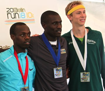 Lani Rutto (center) won The 2013 Bellin Run, flanked by Alan Kiprono (left) who finished second, and Bill Jones (right) who finished third.