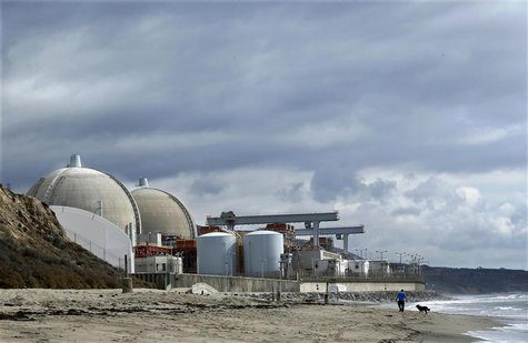 A man walks his dog next to the damaged San Onofre power plant located next to San Onofre State Park in California, in this November 8, 2012