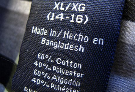 The clothing tag on a boy's shirt which is made in Bangladesh is shown after purchase from a Walmart store in Encinitas, California, May 14,