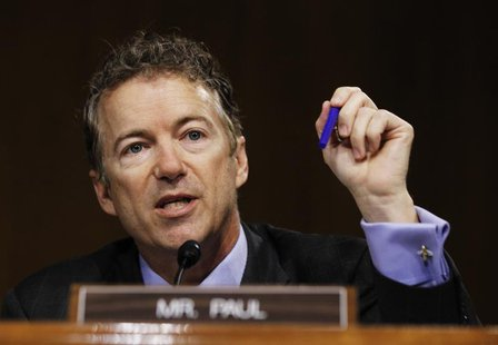 U.S. Senator Rand Paul (R-KY) speaks during a Senate homeland security and governmental affairs investigations subcommittee hearing on offsh