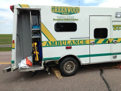 Greenwood Ambulance crash. Photo: Clark Co. Sheriff's Dept.