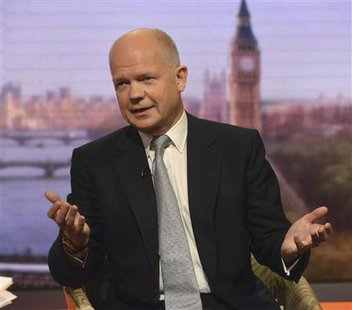 Britain's Foreign Secretary William Hague speaks on the BBC's Andrew Marr Show, presented by Sophie Raworth, in this photograph provided by the BBC, in London June 9, 2013. Credit: Reuters/Jeff Overs/BBC/Handout via Reuters