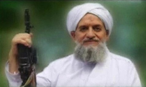 A photo of Al Qaeda's leader, Egyptian Ayman al-Zawahiri, is seen in this still image taken from a video released on September 12, 2011. REU