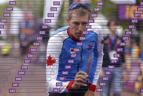 Canada's Ryder Hesjedal signs his name at the start of the men's cycling road race at the London 2012 Olympic Games July 28, 2012. REUTERS/P