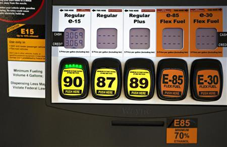 A gas pump shows different kinds of fuel at Scott Zaremba's Zarco 66 gas station in Lawrence, Kansas in this handout photo taken December 12, 2012.  REUTERS/CathrynFarleyPhotography.com/Handout via Reuters