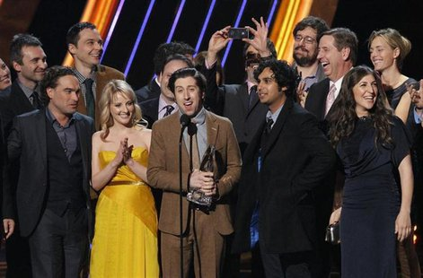 "The cast of ""The Big Bang Theory"" accept the award for ""Favorite Network TV Comedy"" at the 2013 People's Choice Awards in Los Angeles, Janua"