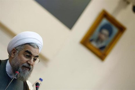 Former chief nuclear negotiator Hassan Rohani speaks during a conference at the Expediency Council's Research and Strategic Studies Center i
