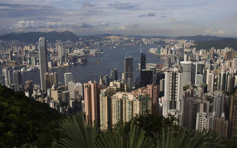 The Hong Kong skyline is seen from the Peak tourist spot, in this file picture taken June 11, 2008. REUTERS/Victor Fraile/Files