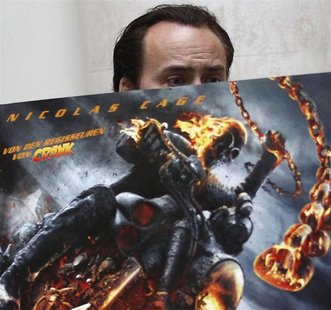 U.S. actor Nicolas Cage arrives to promote his movie 'Ghost Rider: Spirit of Vengeance' in Berlin January 23, 2012. REUTERS/Tobias Schwarz
