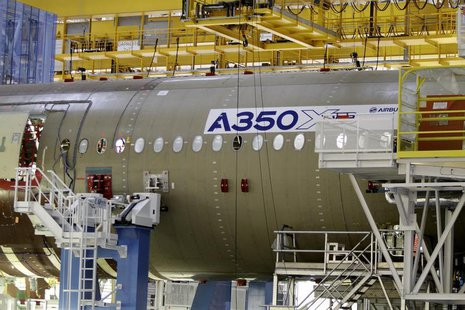 The main body section of the first Airbus A350 is seen on the final assembly line in Toulouse, southwestern France, October 23,2012. REUTERS