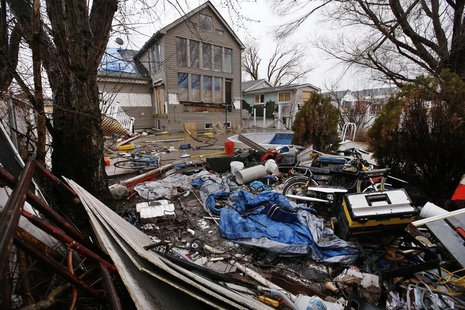 A home destroyed and abandoned after Hurricane Sandy is seen on Fox Beach Avenue in the Oakwood Beach section of Staten Island in New York C