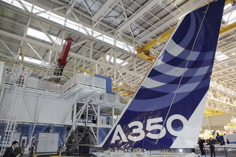 The vertical tail wing of the first Airbus A350 is seen on the final assembly line in Toulouse, southwestern France, October 23,2012. REUTER
