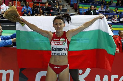 Tezdzhan Naimova of Bulgaria celebrates as she won the women's 60m event during the European Athletics Indoor Championships in Gothenburg Ma