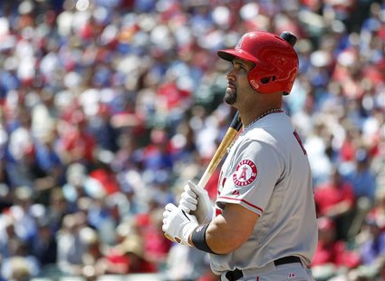 Los Angeles Angels' Albert Pujols prepares to bat against the Texas Rangers in the fourth inning of their MLB American league baseball game