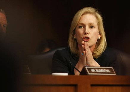 U.S. Sen. Kirsten Gillibrand, (D-NY) speaks about pending legislation regarding sexual assaults in the military at a Senate Armed Services C