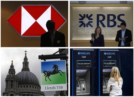 A combination of four photographs shows (top L-R) a worker silhouetted against an illuminated sign in a branch of HSBC; Two people walking o