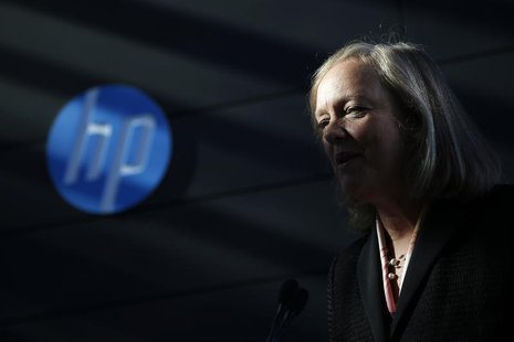 Meg Whitman, chief executive officer and president of Hewlett-Packard, speaks during the grand opening of the company's Executive Briefing C