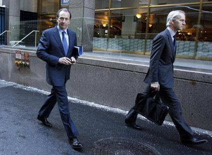 Morgan Stanley CEO James Gorman (L) is seen leaving after a meeting in New York January 13, 2011. REUTERS/Jessica Rinaldi