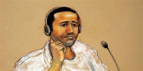 In this sketch approved by the military by court artist Janet Hamlin, and obtained by Reuters on November 9, 2011, Abd Al Rahim Hussayn Muha