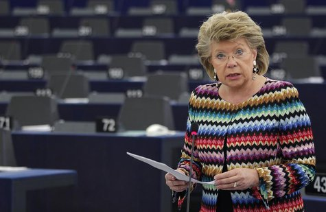 European Union Justice Commissioner Viviane Reding addresses the European Parliament during a debate on the constitutional situation in Hung