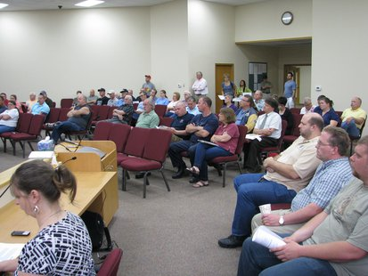 Large crowd at Weston-Rib Mountain joint meeting where new SAFER Fire District was approved 6/11/13.