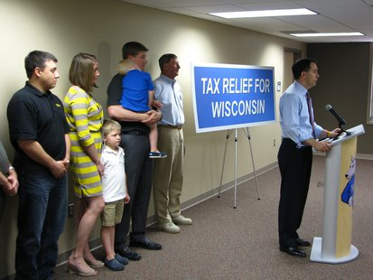 Gov. Scott Walker promotes budget and tax relief