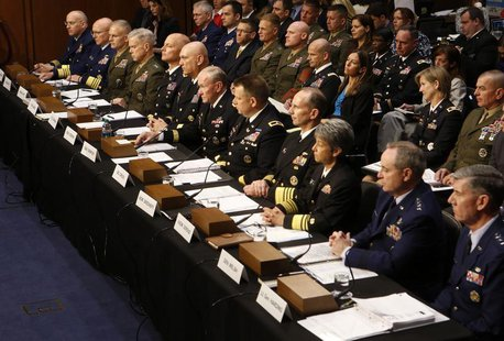 U.S. military generals testify about pending legislation regarding sexual assaults in the military at a Senate Armed Services Committee on C