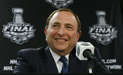 NHL Commissioner Gary Bettman speaks to the media prior to the start of the NHL Stanley Cup hockey finals in Chicago, Illinois, June 12, 201