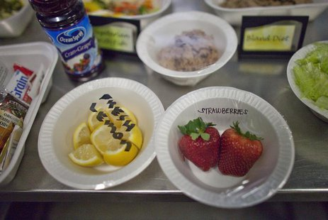 A selection of lunch meals offered to detainees are displayed in a food preparation area at the U.S. Naval Base at Guantanamo Bay, March 7,