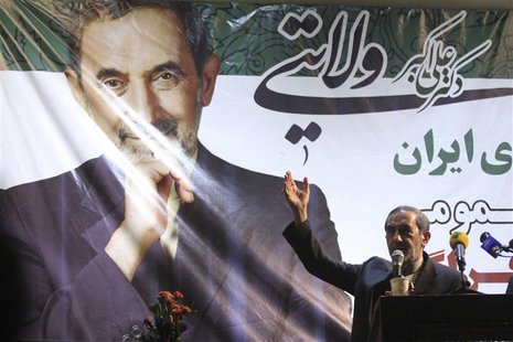 Iranian presidential candidate Ali Akbar Velayati delivers a speech to supporters in Tehran June 12, 2013. Picture taken June 12, 2013. REUT