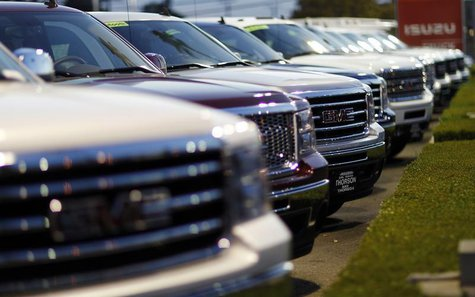 GMC sport-utility vehicles are pictured at a dealership in Pasadena, California April 3, 2013. REUTERS/Mario Anzuoni