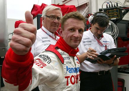 Panasonic Toyota driver Allan McNish of Britain reacts after he clocked the second time of the free practice session of Monaco Formula One G