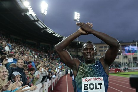 Usain Bolt of Jamaica celebrates after winning the men's 200m during the IAAF Diamond League athletics competition at the Bislett Stadium in