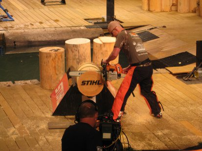 Ben Hansen wins the 2013 STIHL Timbersports Series collegiate championship.  Photo: UWSP