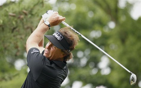 Phil Mickelson of the U.S. tees off on the second hole during the first round of the 2013 U.S. Open golf championship at the Merion Golf Clu