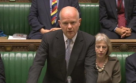 Britain's Foreign Secretary William Hague is seen making a statement to the House of Commons in this still image taken from video, in centra