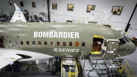 A Bombardier Cseries jet under construction is seen in this handout photo taken in Mirabel, Quebec in this June, 2013 handout provided by Bo