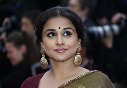 "Jury Member actress Vidya Balan poses on the red carpet as she arrives for the screening of the film ""Inside Llewyn Davis"" in competition du"