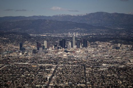 The Los Angeles skyline and the San Gabriel Mountains are seen in this aerial photo taken on February 20, 2013. Picture taken on February 20