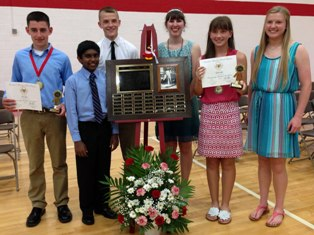 5 years of Axner Olson Citizenship Award winners(l-r): Eric Bach, 2013; Kumaran Arivoli, 2012; Ben Hicks, 2010; Abby Donbrock, 2009; Emma Grife, 2013; Shelby Bowers, 2011