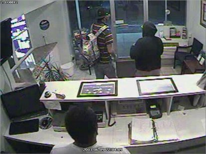 The suspects are seen in surveillance footage.